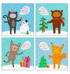 cute cat squirrel bear deer greeting card vector image