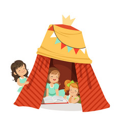 Cute little girls sitting in a homemade teepee and vector