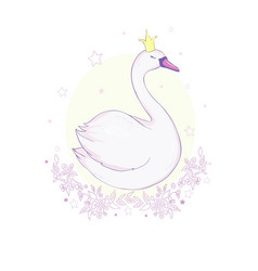 Cute lovely princess swan on pink background vector