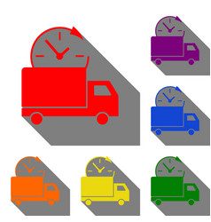 delivery sign set of red orange vector image
