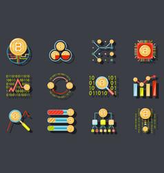 digital money internet currency bitcoin data vector image