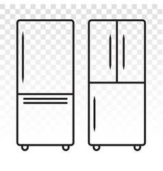 Double door freezer refrigerator or fridge line vector