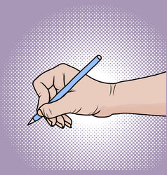 Drawing hand with pencil in pop art vector