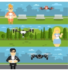 Drone aircraft flyers with flying robots vector image