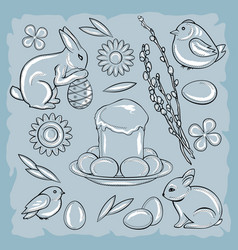 Easter set with rabbit chicken easter cake vector