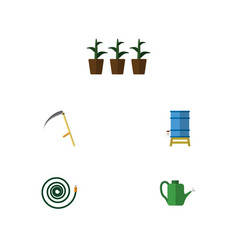 Flat icon farm set of hosepipe flowerpot bailer vector