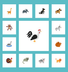 Flat icons pony rooster gobbler and other vector