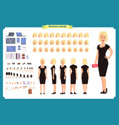 girl in evening dress character creation set vector image