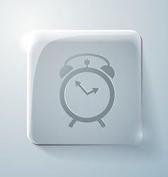 Glass square icon alarm clock vector