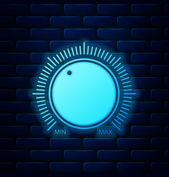 Glowing neon dial knob level technology settings vector