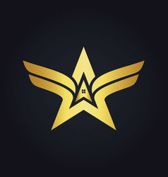 Gold arrow star realty wing logo vector