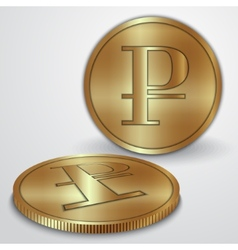 gold coins with rouble currency sign vector image