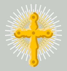 Golden orthodox cross icon isolated vector