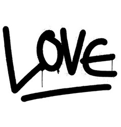 graffiti love word sprayed isolated on white vector image