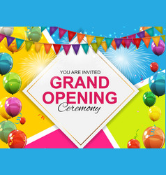 Grand opening card with balloons background vector