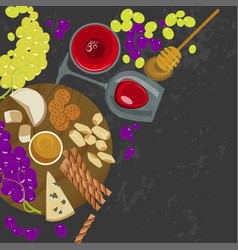 grapes honey cheese with glass of wine vector image