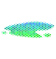 Halftone blue-green puddle icon vector