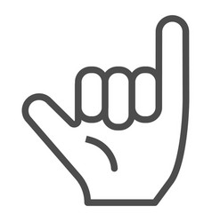 Hang loose gesture line icon shaka vector