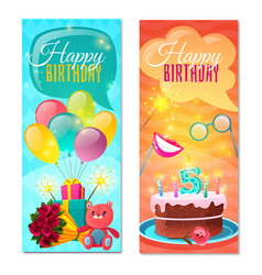 Happy birthday vertical banners vector