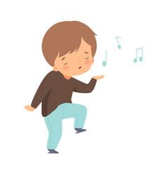 Happy boy singing and dancing adorable kid having vector