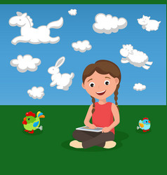 Happy cartoon girl with data tablet and toys on vector