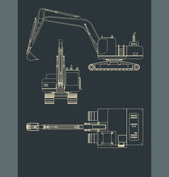 heavy excavator blueprints vector image
