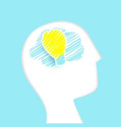 human brain with a light bulb simple flat vector image