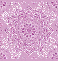 indian floral lilac and purple mandala vector image