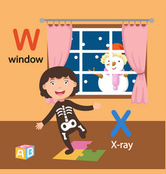 isolated alphabet letter w-window x-x-ray vector image
