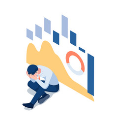 isometric depressed businessman with falling vector image