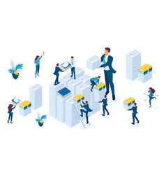 Isometric set businespeople make up reports tax vector