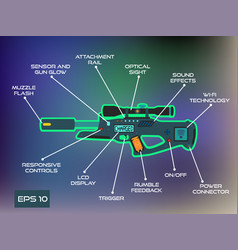 laser tag game laser gun infographics in trendy vector image