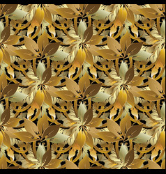 leafy gold baroque style floral 3d seamless vector image