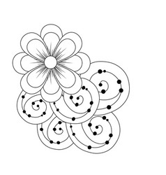 line beauty flowers with petals and ornamental vector image