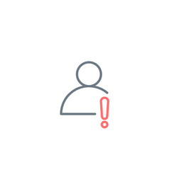 Linear profile user action icon with exclamation vector