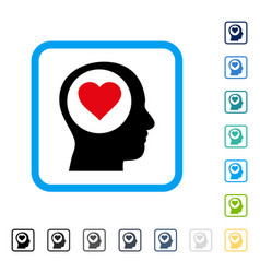 Love thinking head framed icon vector