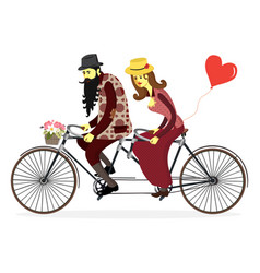 loving couple riding on a bicycle couple vector image