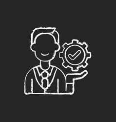 Management chalk white icon on black background vector