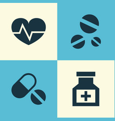 Medicine icons set collection of drug beating vector