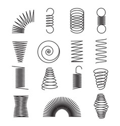 metal springs spiral lines coil shapes isolated vector image
