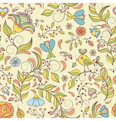 Pattern with abstract flowers and bird vector