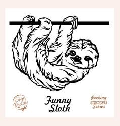 peeking funny sloth - funny sloth out vector image