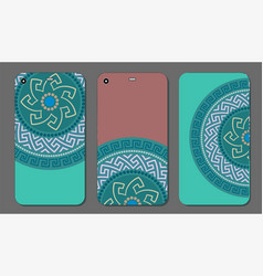 phone case set with greek circular ornament vector image