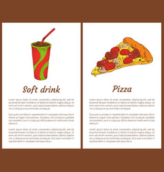 pizza piece and soft drink in cup colorful poster vector image