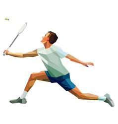 Polygonal professional badminton player man vector