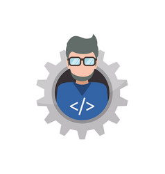 programmer man faceless glasses vector image