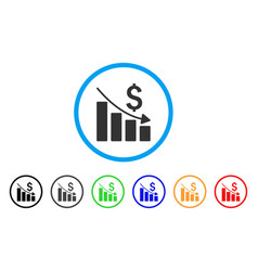sales crisis chart rounded icon vector image