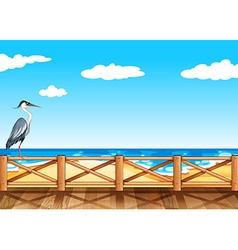 Scene with crane and ocean vector image