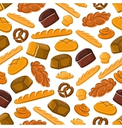 Seamless pattern of fresh bread and pastries vector image
