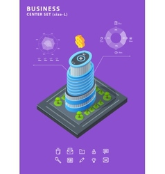 Set business isometric building icons diagrams vector